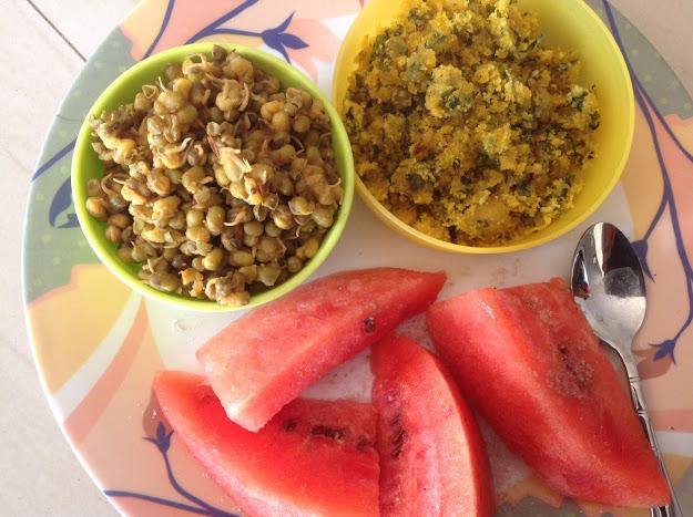Stir Fried Sprouts, Methi ni bhaji na bhajiya and water melon