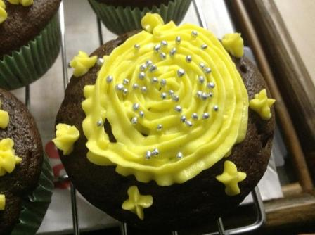chocolate lemon cup cake with Lemon buttercream frosting