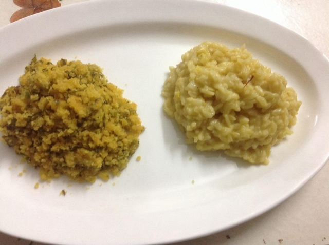 Left: Methi ni Bhaji na bhajiya Right: Saffron Risotto