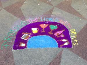 Around the world inspired rangoli (This is what you get when you have guys on your team ;) )